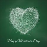 Duży 3d biały serce w skrobanina stylu na chalkboard Ilustracji