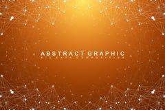 Duży dane kompleks Graficzna abstrakcjonistyczna tło komunikacja Perspektywiczny tło głębia Minimalny szyk z mieszankami Obrazy Stock