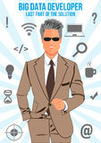 Duży dane przedsiębiorcy budowlanego rewizi kostiumu projekta pojęcie Obraz Stock