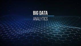Duży dane unaocznienie Tło 3D Duży dane związku tło Cyber technologii Ai techniki drutu sieć futurystyczna Obraz Stock