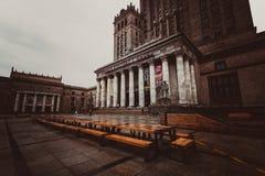 Duży drewniany stół pod pałac kultura i nauka Zdjęcia Royalty Free