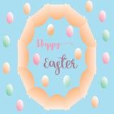 Duży elipsy jajko i kolorowy mały jajka kartka z pozdrowieniami Easter tło obraz stock