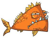 Duży gniewna rybia kreskówka Obrazy Stock