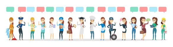 Duży grupa ludzi różna zajęcie rozmowa używać mowa bąbel royalty ilustracja