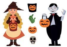 Duży Halloweenowy ustawiający z dwa charakterami, elementu wampirem i Małą czarownicą z Dyniowym Jack na bielu, zdjęcia royalty free