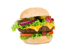 Duży hamburger na białym tle Obrazy Royalty Free