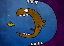 duży je rybi małego Zdjęcia Royalty Free