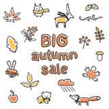 Duży jesieni sprzedaży plakat Wektorowi zwierzęta i rośliny Zdjęcia Stock