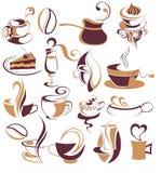 duży kawowi elementy ustawiająca herbata Zdjęcie Stock