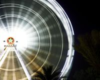 Duży koło Agadir, Maroko przy nocą Zdjęcie Stock