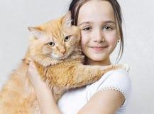 duży kota dziewczyny czerwień Zdjęcia Stock