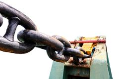 Duży kotwicowy łańcuch cumowniczy winch Zdjęcia Royalty Free