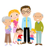 Duży kreskówki rodzina z rodzicami, dziećmi i gran Obrazy Stock