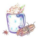 Duży kubek gorąca czekolada z śmietanką ilustracja wektor