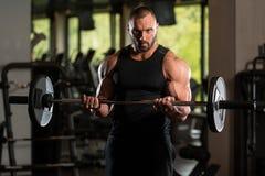 Duży mężczyzna Stać Silny W Gym I Ćwiczyć bicepsy Z Barbell Obraz Royalty Free