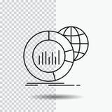 Duży, mapa, dane, świat, infographic Kreskowa ikona na Przejrzystym tle Czarna ikona wektoru ilustracja royalty ilustracja