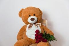Duży miś trzyma czerwieni róży bukiet, romantyczna prezent niespodzianka, walentynka dzień, rocznica, miłość obraz stock