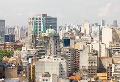 Duży miasto Sao Paulo i Se katedra fotografia royalty free