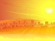 Duży miasto skyscrape przeciw wschód słońca. Ilustracja Wektor