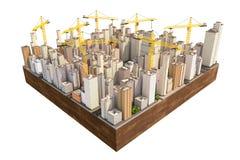 Duży miasto w budowie z wiele żurawiami Obraz Royalty Free