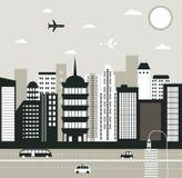 Duży miasto w czarny i biały Fotografia Stock