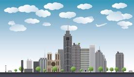Duży miasto z drapaczami chmur, niebieskie niebo, drzewa również zwrócić corel ilustracji wektora ilustracji