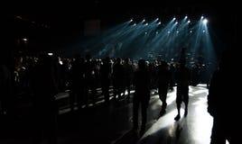 Duży muzyka na żywo koncert z tłumem i światłami i Obrazy Stock