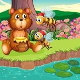 Duży niedźwiedź i pszczoły przy riverbank ilustracja wektor