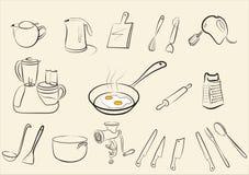 duży odosobneni kuchenni ustaleni narzędzia Zdjęcia Royalty Free
