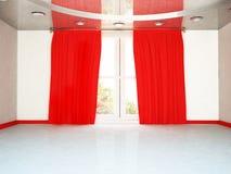 Duży okno i czerwona zasłona, ilustracji