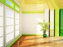 Duży okno i roślina ilustracja wektor