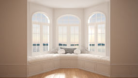 Duży okno z denną panoramą, minimalista pusta przestrzeń, tło obraz stock