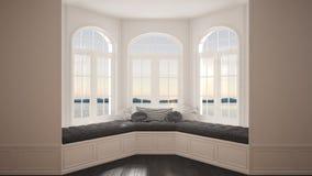 Duży okno z denną panoramą, minimalista pusta przestrzeń, tło obraz royalty free