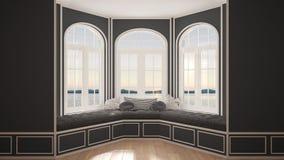 Duży okno z denną panoramą, minimalista pusta przestrzeń, tło zdjęcia stock