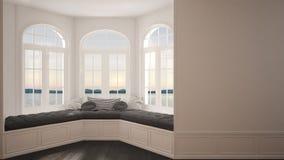 Duży okno z denną panoramą, minimalista pusta przestrzeń, tło zdjęcia royalty free