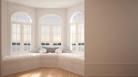 Duży okno z denną panoramą, minimalista pusta przestrzeń, tło obrazy stock