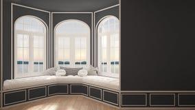Duży okno z denną panoramą, minimalista pusta przestrzeń, tło obrazy royalty free