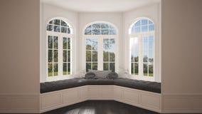 Duży okno z ogrodową łąkową panoramą, minimalista pusta przestrzeń, zdjęcie stock
