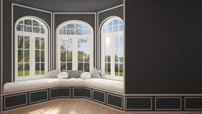 Duży okno z ogrodową łąkową panoramą, minimalista pusta przestrzeń, obraz stock