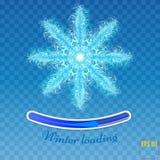 Duży płatek śniegu w błękicie barwi na przejrzystym tle Piórko Zdjęcie Royalty Free