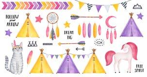 Duży Plemienny set z pasiastym figlarka charakterem, uśmiechnięty koń, gwiazdy, piórka, dreamcatcher, strzały, tipi namioty, chor royalty ilustracja