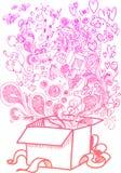 Duży prezenta pudełko, szkicowi doodles Obrazy Stock
