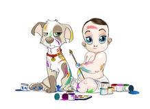 Duży przyglądający się dziecko i jego zatabaczony szczeniak błocący farbami Zdjęcia Stock