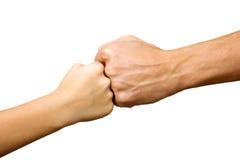 Duży ręka i mała ręka jako pięści wpólnie Fotografia Stock