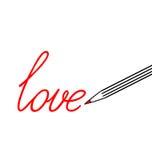 duży remisu miłości ołówka słowo Obraz Stock