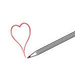 duży remisu serca ołówka czerwień Fotografia Royalty Free