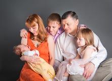 duży rodzinny szczęśliwy Obraz Royalty Free