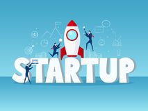 Duży słowa rozpoczęcia pojęcie Biznesmena rozpoczęcie z rakietą, ikonami i elementem, ilustracja wektor