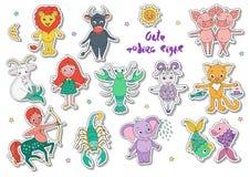 Duży set śliczni fantastyczni zwierzęta i charaktery jako zodiaków znaki Zdjęcia Stock