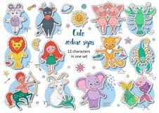 Duży set śliczni fantastyczni zwierzęta i charaktery jako zodiaków znaki Zdjęcie Stock